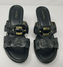 ST. JOHNS BAY Galore Womens Black Slip On Wedge Heel Sandals Shoes, Sz. 8.5 M