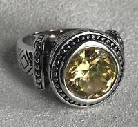 Premier Designs Lemon Luxe Size 10 Citrine Ring SilverTone Statement Black Etch