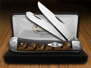 Case xx Trapper Knife Scrolled Golden Walking Elk Black Delrin 1/500 Stainless