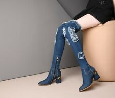 Womens Winter Denim Long Boots Over The Knee Faux Plush Lining Side Zipper Boots