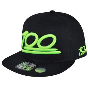 100 One Hundred Emoji Emoticons Text Symbol Snapback Hat Cap Flat Bill Neon Gree