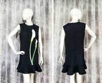 NWT Victoria Beckham for Target Black Dress Call Flower Print Ruffle Hem size M