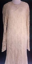 EXQUISITE Beaded Ivory Formal Gown Long Sleeve Art Deco Wedding Dress Large LG