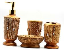 New Diamond Bathroom Set 4 Piece Accessory Soap Dish Dispenser Toothbrush Holder