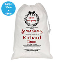 PERSONALISED CHRISTMAS WHITE SANTA KIDS SACK MERRY CHRISTMAS LARGE 30X45CM BAG