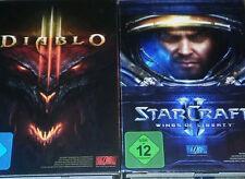 DIABLO 3  PC und Starcraft PC beide Spiele in 1 Auktion in DVD Boxen