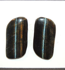 Blue Tiger's Eye 27x13mm with 3mm dome Cabochons Set of 2  (11509)