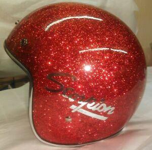 New Retro Style Vintage Scorpion Snowmobile Helmet Choose Size Red Metal flake