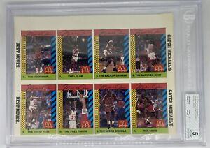 1990-91 McDonalds Michael Jordan uncut SI For Kids sheet 8 cards BGS Graded Slab
