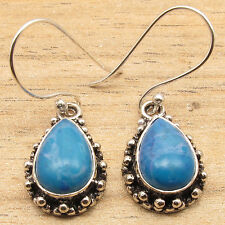 925 Silver Plated Beautiful Simulated LARIMAR Gemset VINTAGE STYLE Earrings