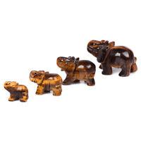 Natural Tiger-Eye Quartz Stone Carved Elephant Gemstone Crystal Animal Figurine