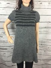 Glittery Gray Striped Sweater Project Dress Large Turtleneck Short Sleeve Sexy