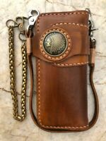Handmade Mens Wallet Motorcycle Biker Wallet Trucker Long Leather Wallet 02
