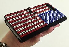 American Flag Made with Swarovski Crystals Bling Shiny Luxury Wallet Case Note 8