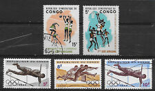 CONGO , SPORTS  , LOT OF 5 STAMPS ,  PERF , MNH/USED
