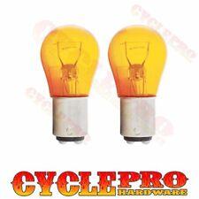2 Amber 1157 Glass Bulb Kit For Harley Turn Brake Run Signal Smoke Clear Lenses