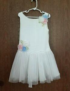 Biscotti White Dress w Pink Blue Flowers Girls size 7 Sleeveless