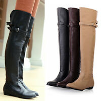Womens Flat Heel Riding Over Knee leather Autumn Winter Boot Buckle Plus Size 10