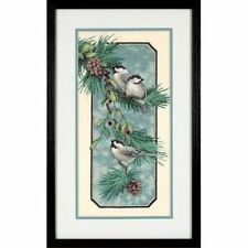 """Dimensions CHICKADEES ON A BRANCH Stamped Cross Stitch Kit 8"""" x 16"""""""