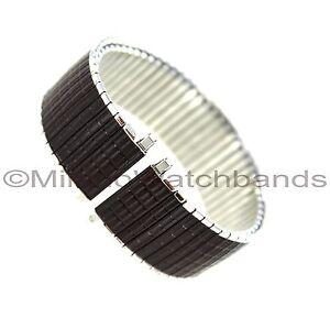 18-22mm Speidel Mens Thinline Twist-O-Flex Silver Tone Brown Romunda Band 132802