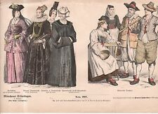 Chromo Fashion print of 1700's Switzerland Farmer, wives and noblewomen