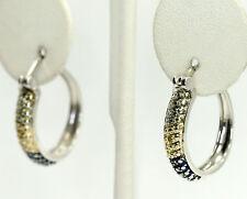 Diamond Sterling Silver Tri Tone Green Yellow Blue Plated Hoop Earrings