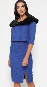 UK 16 LINDY BOP Beverly 2 Piece DRESS and SHRUG Cobalt Blue BNWT Vintage Style