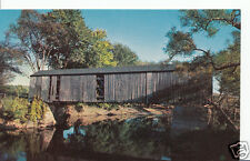 America Postcard - Old Covered Bridge on The Housatonic River, Mass   A5559