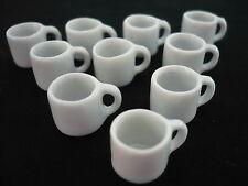 New 10 White Mug Coffee Size S Dollhouse Miniatures Ceramic 10 mm diameter