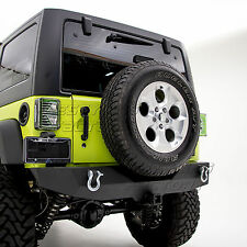 "Black Textured 07-17 Jeep Wrangler JK Rock Crawler Rear Bumper+2"" Hitch Receiver"