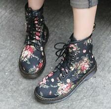 Women Fashion Floral Print Ankle Boots England  Lace Up Round Toe Shoes