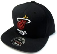 Miami Heat NBA Mitchell & Ness Solid Black Flat Visor Hat Cap Fitted Sizes