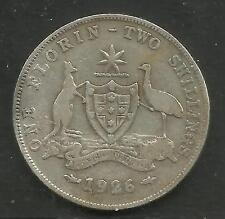 AUSTRALIA 1926 KING GEORGE V .925 SILVER FLORIN 2/- COIN