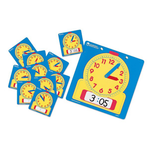 Learning Resources Write & Wipe Clocks Classroom Set, Laminated Dry-Erase, Aids,