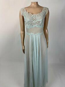 Vintage Vanity Fair Women's Nightgown Set 32 Lace Nylon Tricot Blue Sheer U3-7