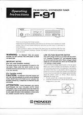 Pioneer F91 Tuner Owners Manual