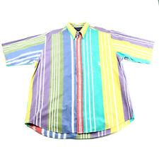 Nautica Mens Shirt Dress Large Multi-Color Short Sleeve Cotton Striped Sailing