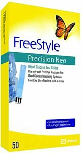 Freestyle Precision Neo Blood Glucose Test Strips - 50ct - New - Free Shipping