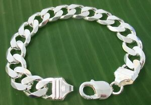 MADE IN ITALY 925 Sterling silver11.65mm wide CURB 20 to 24.5cm BRACELET UNISEX