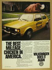 1981 vw Volkswagen Diesel Rabbit yellow chicken delivery car photo print Ad