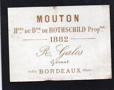 PAUILLAC 1GCC VIEILLE LITHOGRAPHIE CHATEAU MOUTON ROTHSCHILD 1882 RARE§13/08/16§