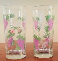VINTAGE Clear Drinking Glass Tumblers PURPLE GRAPES 16 oz. Set of 2