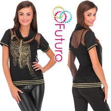 Ladies Black Mesh Top Cowl Neck See Through T-Shirt Blouse Sizes 8-14 FC2057