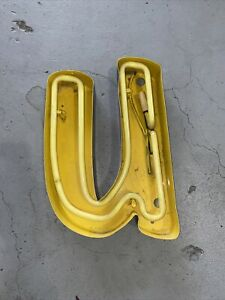 """Vintage Marquee Yellow Letter """"U or N"""" Channel Outdoor Neon Sign Reclaimed Decor"""