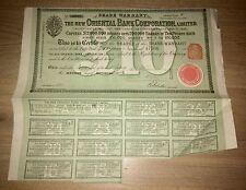 Nouvelle société de banque oriental 1885 partager justifient £ 10