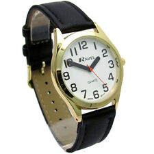 Ravel Mens Super-Clear Easy Read Quartz Watch Black Strap White Face R0125.02.1