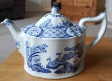 RARE VINTAGE FURNIVALS ENGLAND BLUE AND WHITE OLD CHELSEA TEAPOT