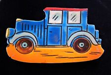 Vintage Jalopy Car Automobile Blue Orange Plastic Pin Brooch West Germany