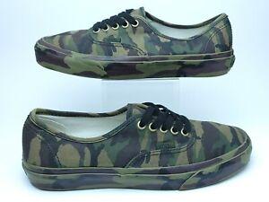 Vans Mens 7.5 Authentic Full All Around Green Camo Sneaker Skateboarding Shoe