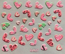 Nail Art 3D Decal Stickers Pink Hearts Cute Valentine's Day GA27